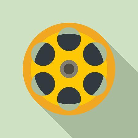 Film reel icon, flat style Illusztráció