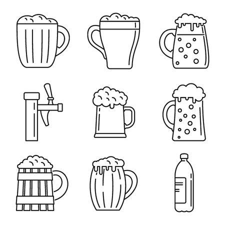 Fresh kvass icons set, outline style