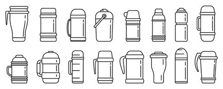 Modern vacuum insulated water bottle icons set, outline style 矢量图像