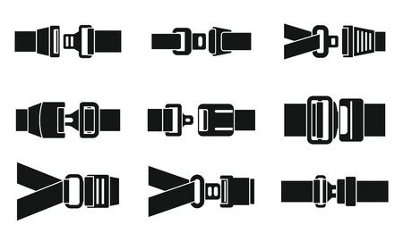 Safe seatbelt icons set, simple style