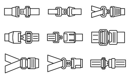 Car seatbelt icons set, outline style
