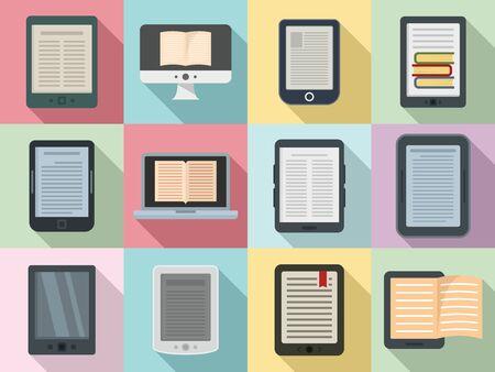 Ebook icons set, flat style