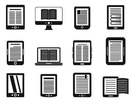 Modern ebook icons set, simple style  イラスト・ベクター素材