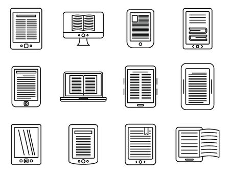 Ebook reader icons set, outline style