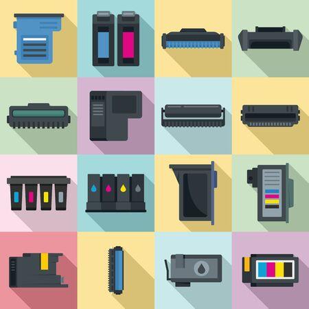 Cartridge icons set, flat style