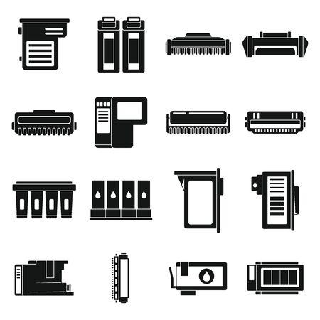 Cartridge toner icons set, simple style Vektoros illusztráció