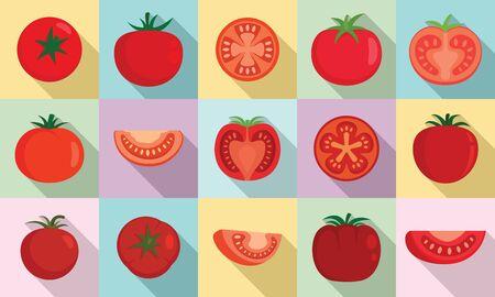Tomato icons set, flat style