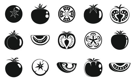 Garden tomato icons set, simple style