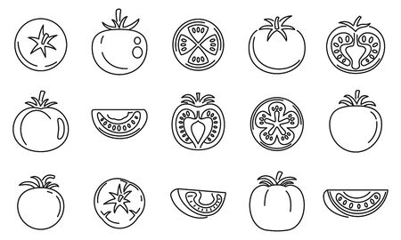 Tomato food icons set, outline style
