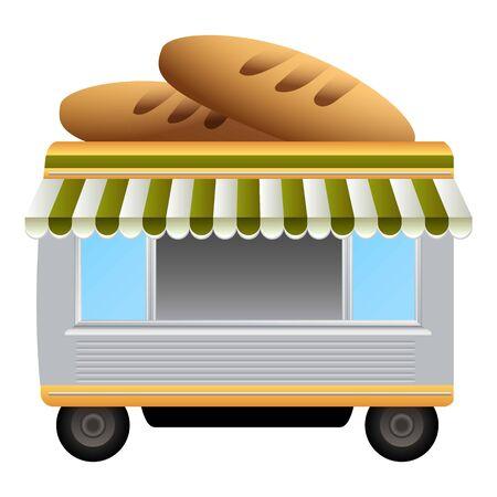 Icona del chiosco del pane. Cartoon di pane chiosco icona vettoriali per il web design isolato su sfondo bianco