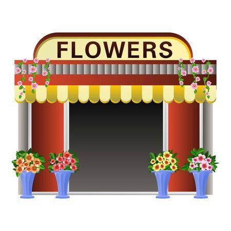 Flowers kiosk icon. Cartoon of flowers kiosk vector icon for web design isolated on white background Illustration