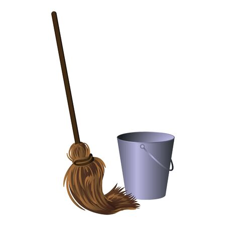 Mop with bucket icon. Cartoon of mop with bucket vector icon for web design isolated on white background Иллюстрация
