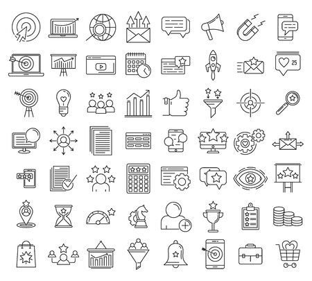 Smm icons set, outline style  イラスト・ベクター素材