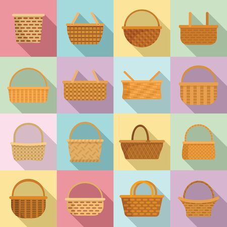 Wicker icons set. Flat set of wicker vector icons for web design Ilustracja