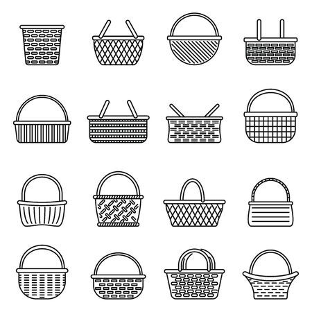 Picnic wicker icons set. Outline set of picnic wicker vector icons for web design isolated on white background