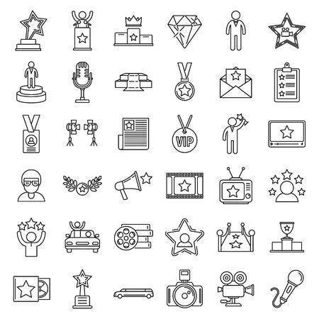 Celebrity famous icons set, outline style