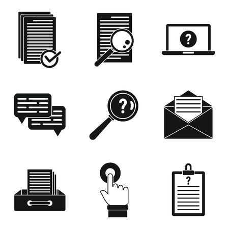 Request form icons set. Simple set of request form vector icons for web design on white background