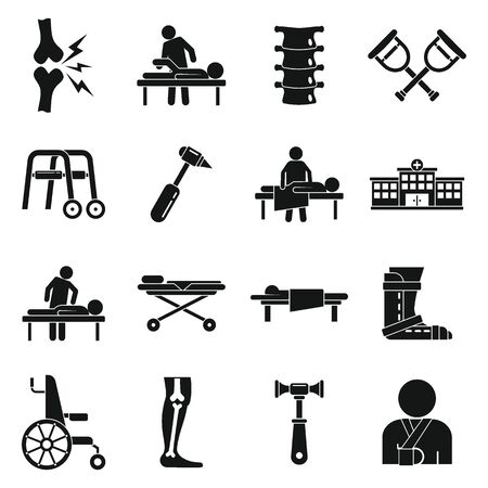 Chiropractor icons set. Simple set of chiropractor vector icons for web design on white background