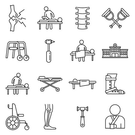Medical chiropractor icons set. Outline set of medical chiropractor vector icons for web design isolated on white background Иллюстрация