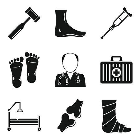 Podiatrist icons set. Simple set of podiatrist vector icons for web design on white background