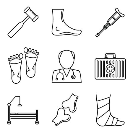 Podiatrist care icons set. Outline set of podiatrist care vector icons for web design isolated on white background