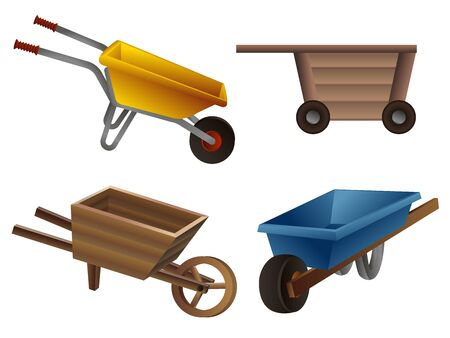 Wheelbarrow icons set. Cartoon set of wheelbarrow vector icons for web design