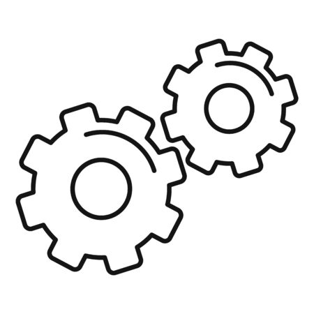 Physics gear system icon. Outline physics gear system vector icon for web design isolated on white background