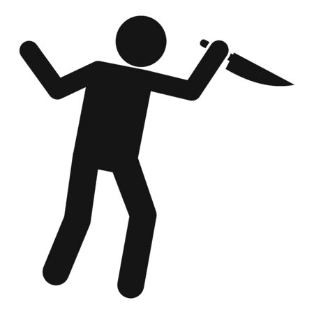 Man knife violence icon, simple style