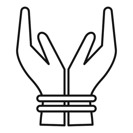 Hands tied icon, outline style Ilustrace