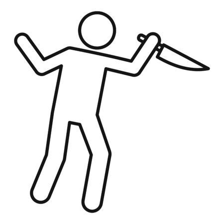 Man knife violence icon, outline style Illustration