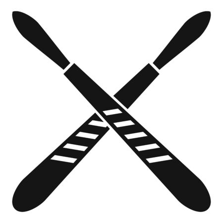 Crossed scalpel icon, simple style
