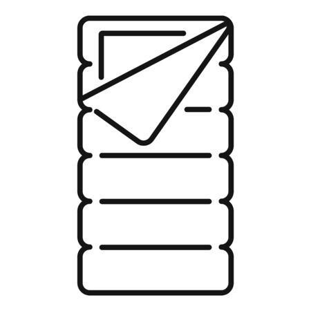 Icono de saco de dormir de tela. Saco de dormir de tela de contorno icono vectoriales para diseño web aislado sobre fondo blanco. Ilustración de vector