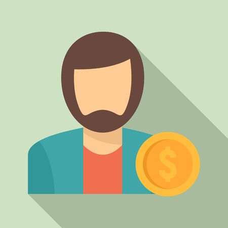 Man buyer icon. Flat illustration of man buyer vector icon for web design