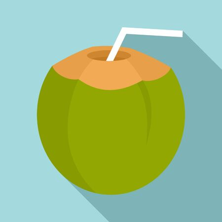 Coconut cocktail icon, flat style 向量圖像