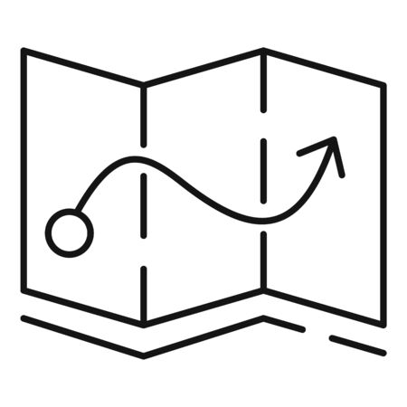 Quest route map icon, outline style Vektorgrafik