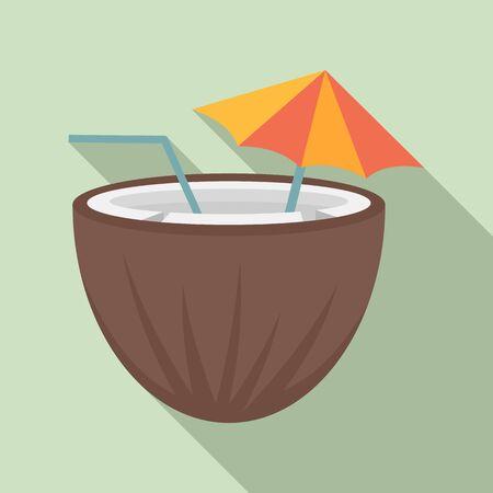 Coconut cocktail icon, flat style Ilustração Vetorial