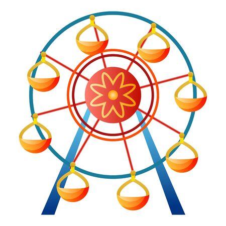 Ferris wheel icon, cartoon style