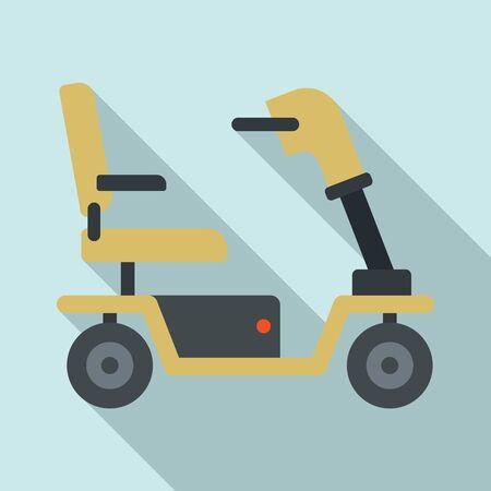 Motorized wheelchair icon. Flat illustration of motorized wheelchair vector icon for web design Ilustración de vector
