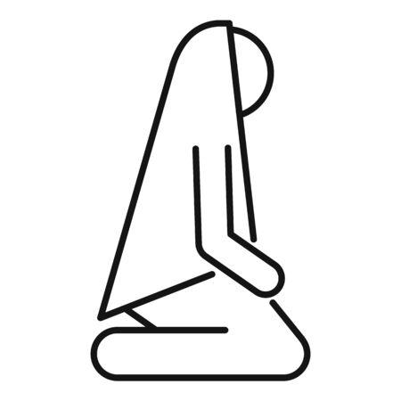 Woman namaz icon. Outline woman namaz vector icon for web design isolated on white background 向量圖像