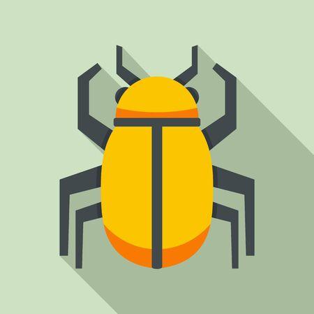 Gold Egypt bug icon. Flat illustration of gold Egypt bug vector icon for web design