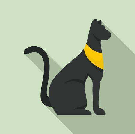 Black egypt cat icon, flat style