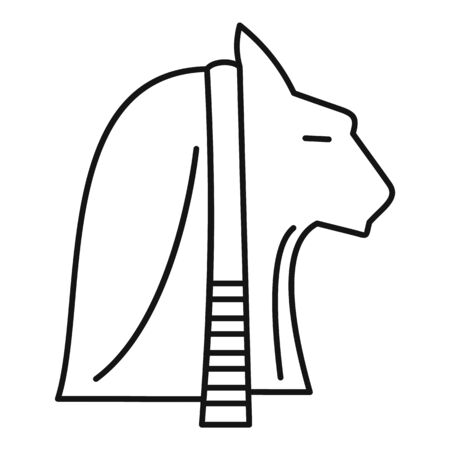 Egypt cat head icon, outline style Illustration