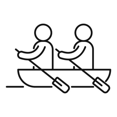 Boat team cooperation icon, outline style