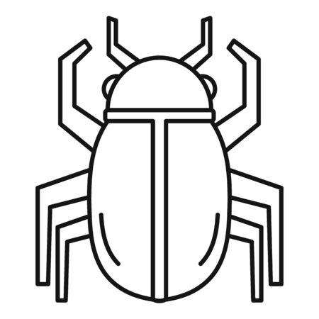 gold egypt bug icon, outline style