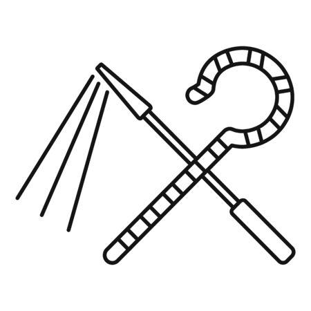 Egypt pharaoh tools icon, outline style