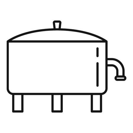 Milk factory tank icon, outline style Illustration