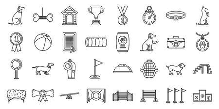 Dog training course icons set, outline style