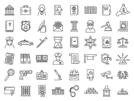 Justice legal icons set, outline style Illustration