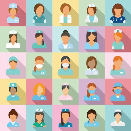 Zestaw ikon pielęgniarki, płaski