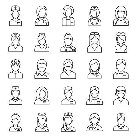 Set di icone infermiere ospedaliere, stile contorno